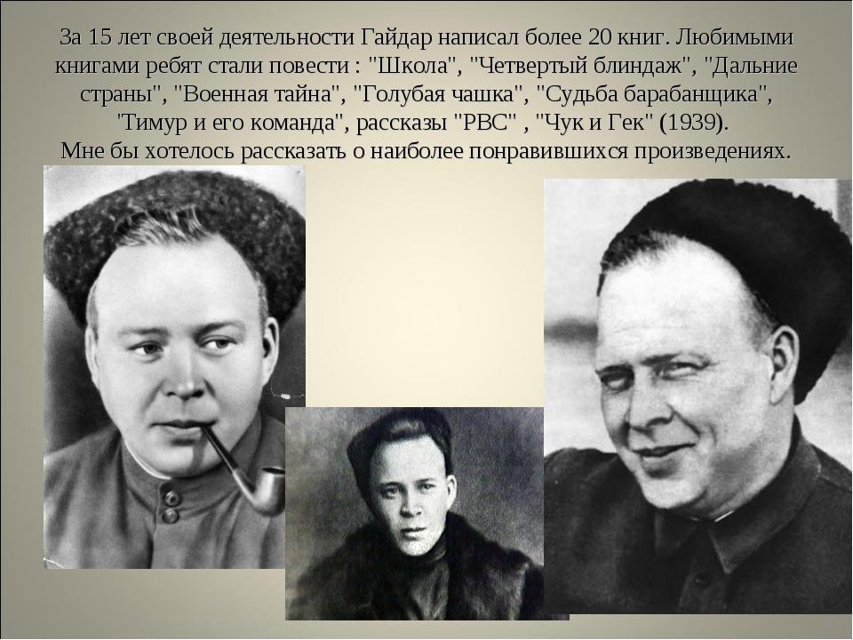 За 15 лет своей деятельности Гайдар написал более 20 книг. Любимыми книгами р...
