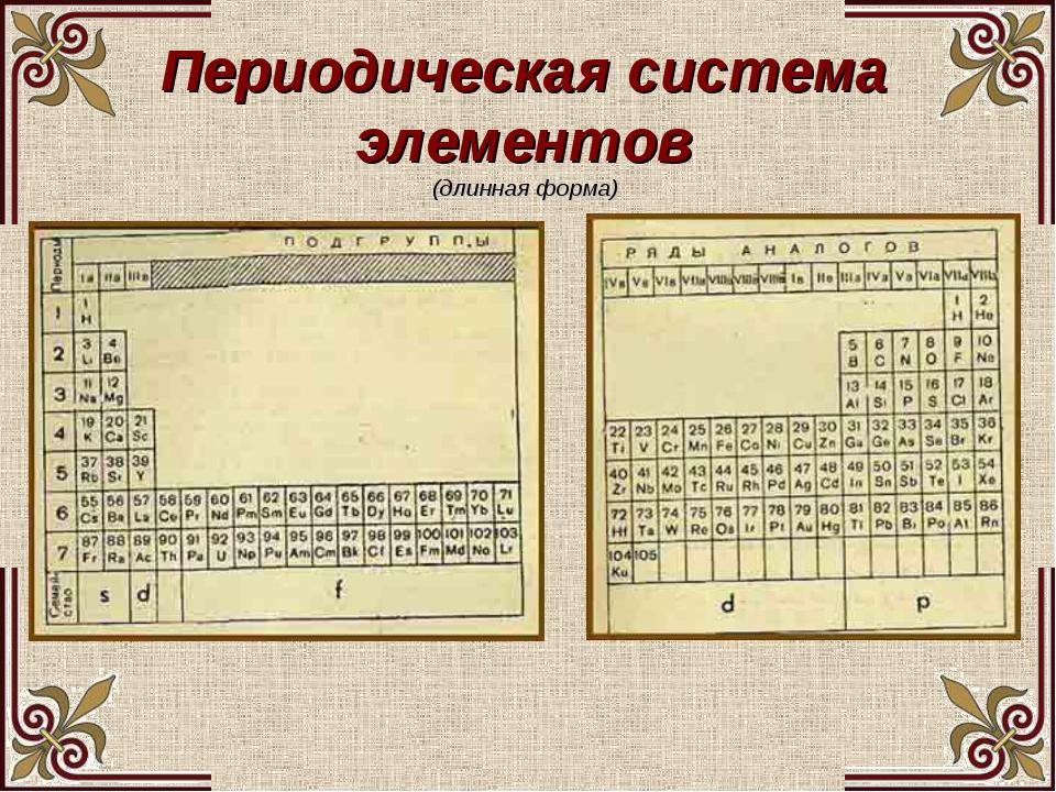 Периодическая система элементов (длинная форма)