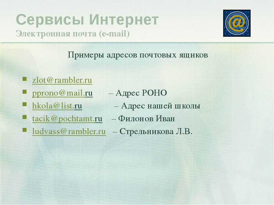Примеры адресов почтовых ящиков zlot@rambler.ru pprono@mail.ru – Адрес РОНО h...