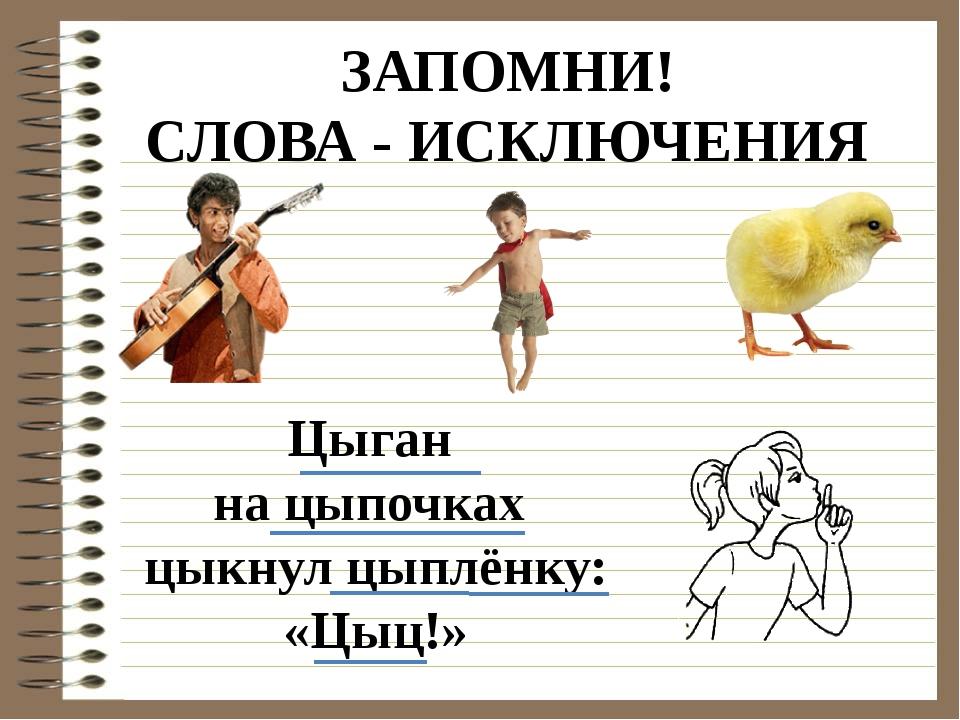 ЗАПОМНИ! СЛОВА - ИСКЛЮЧЕНИЯ Цыган на цыпочках цыкнул цыплёнку: «Цыц!»