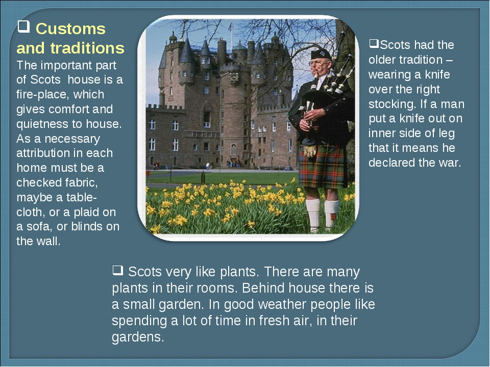 Scots very like plants. There are many plants in their rooms. Behind house t...