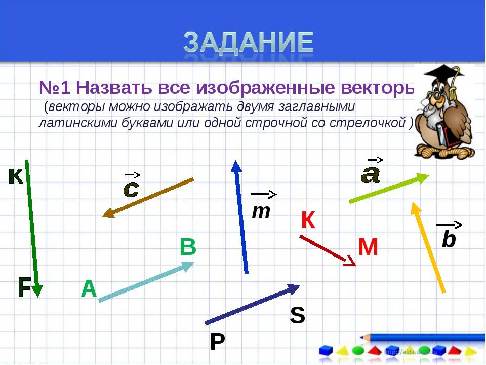 №1 Назвать все изображенные векторы ((векторы можно изображать двумя заглавны...