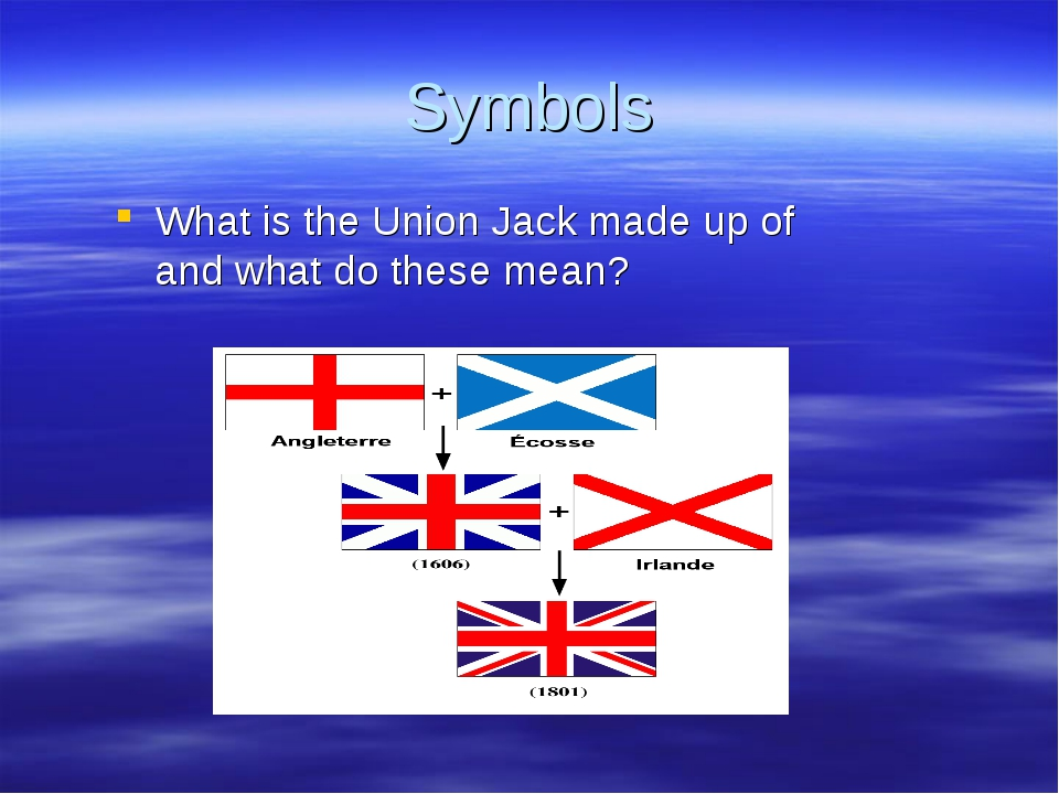 Symbols What is the Union Jack made up of and what do these mean?