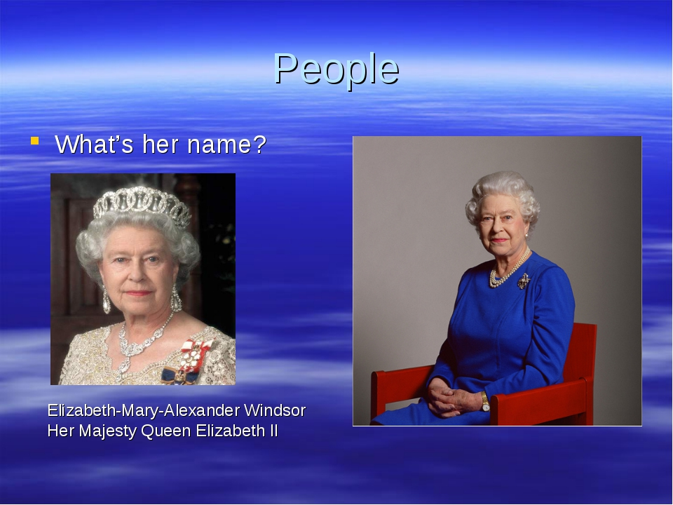 People What's her name? Elizabeth-Mary-Alexander Windsor Her Majesty Queen El...