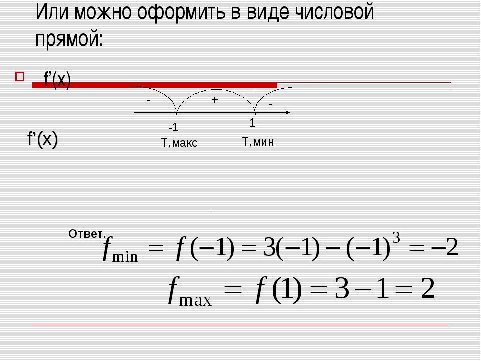 Или можно оформить в виде числовой прямой: f'(x) - - + f'(x) -1 1 Т,макс Т,ми...