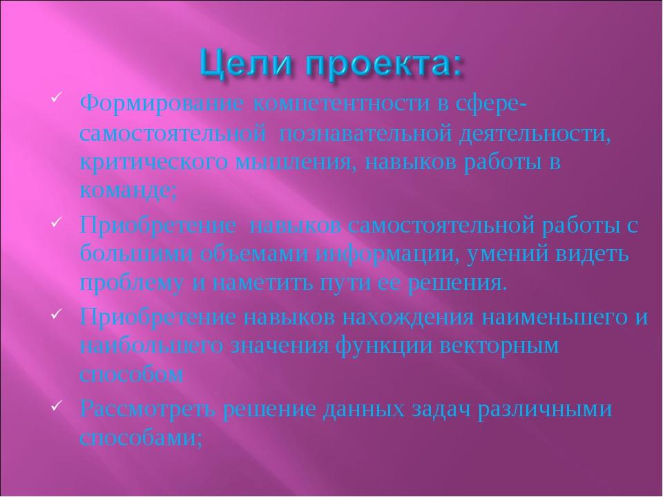 Формирование компетентности в сфере- самостоятельной познавательной деятельно...