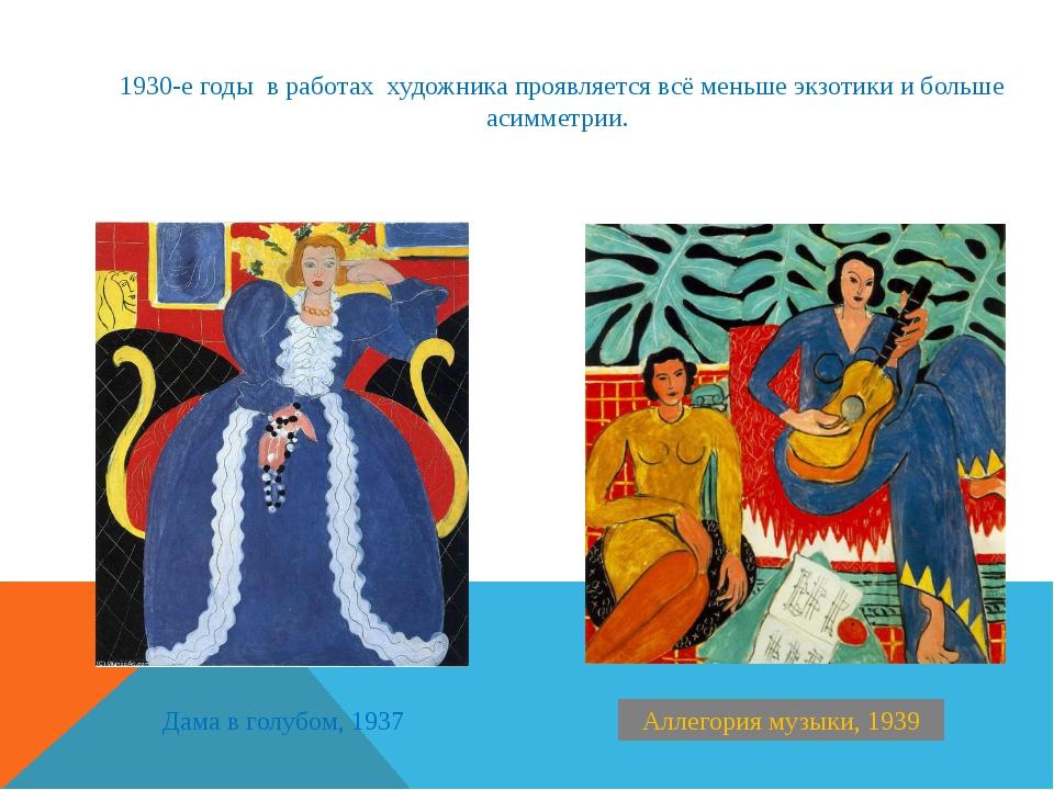 Аллегория музыки, 1939 Дама в голубом, 1937 1930-е годы в работах художника п...