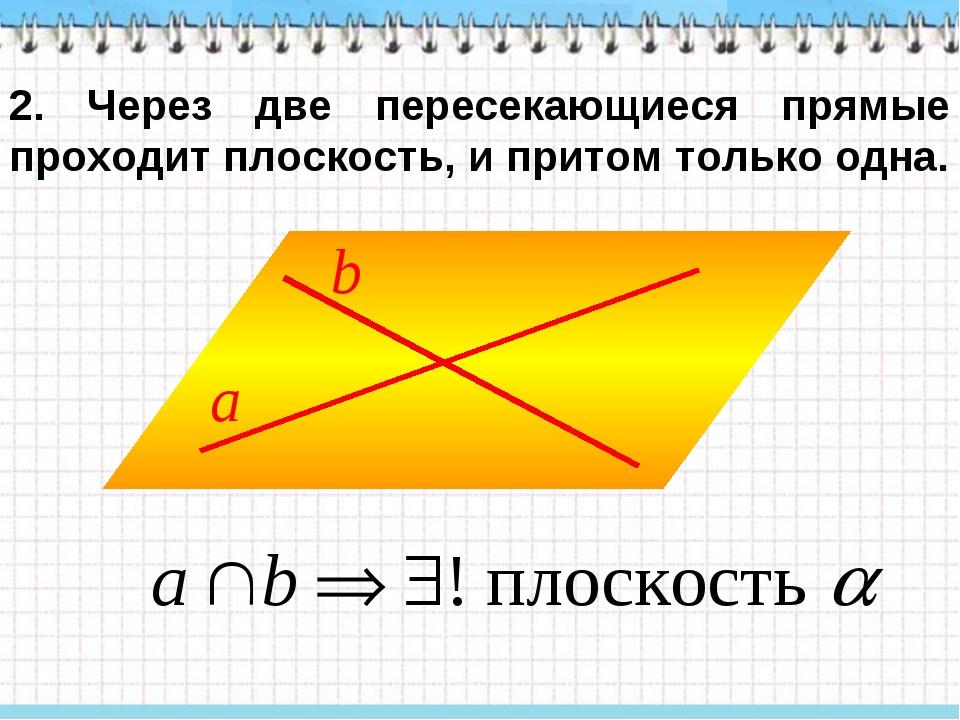 2. Через две пересекающиеся прямые проходит плоскость, и притом только одна.