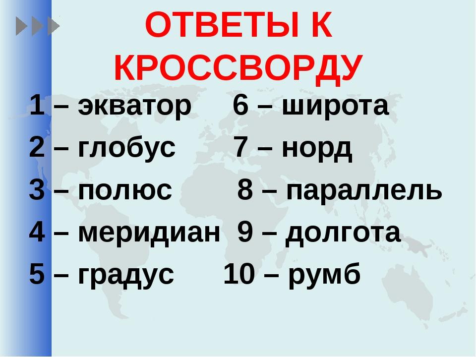 ОТВЕТЫ К КРОССВОРДУ 1 – экватор 6 – широта 2 – глобус 7 – норд 3 – полюс 8 –...