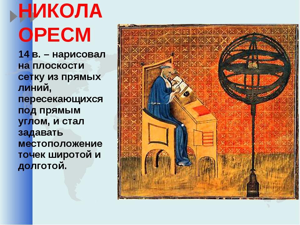 НИКОЛА ОРЕСМ 14 в. – нарисовал на плоскости сетку из прямых линий, пересекающ...