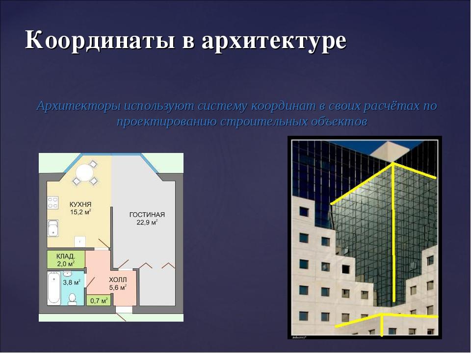 Архитекторы используют систему координат в своих расчётах по проектированию с...
