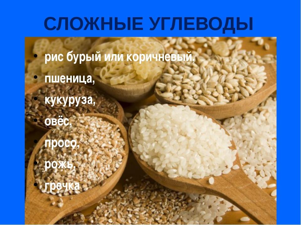 СЛОЖНЫЕ УГЛЕВОДЫ рис бурый или коричневый, пшеница, кукуруза, овёс, просо, ро...