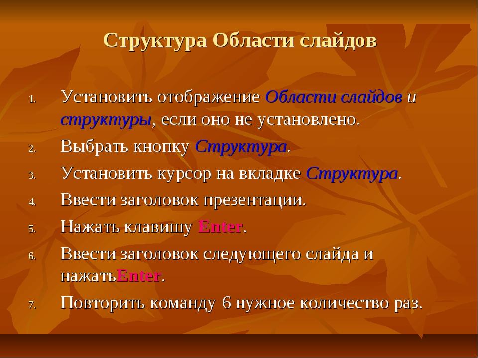 Структура Области слайдов Установить отображение Области слайдов и структуры,...