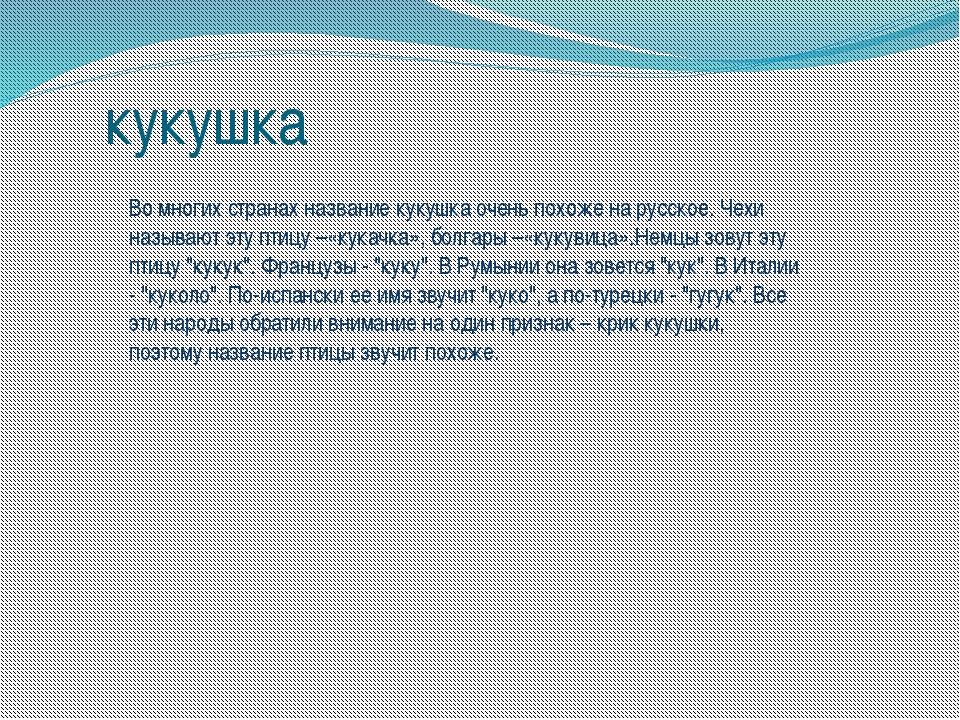 кукушка Во многих странах название кукушка очень похоже на русское. Чехи назы...