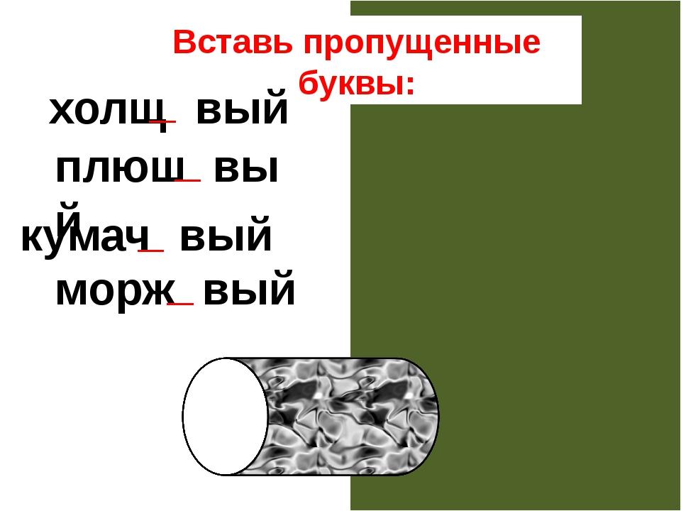 Вставь пропущенные буквы: холщовый плюшевый кумачовый моржовый