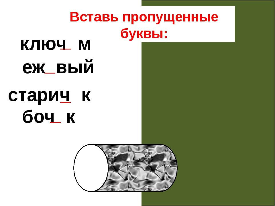 Вставь пропущенные буквы: ключом ежовый старичок бочок