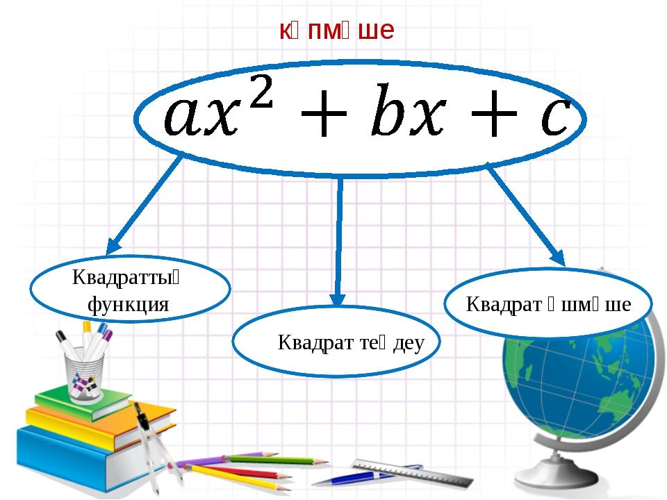 көпмүше Квадрат теңдеу Квадрат үшмүше Квадраттық функция