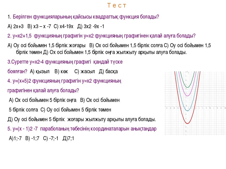 Т е с т Берілген функцияларының қайсысы квадраттық функция болады? А) 2х+3 В)...