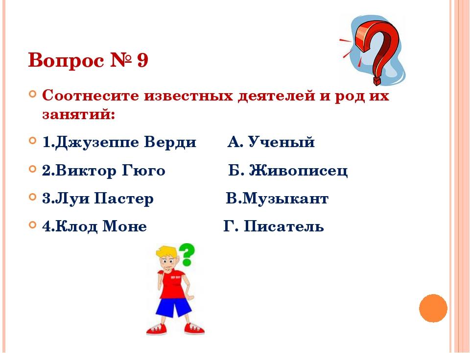 Вопрос № 9 Соотнесите известных деятелей и род их занятий: 1.Джузеппе Верди А...