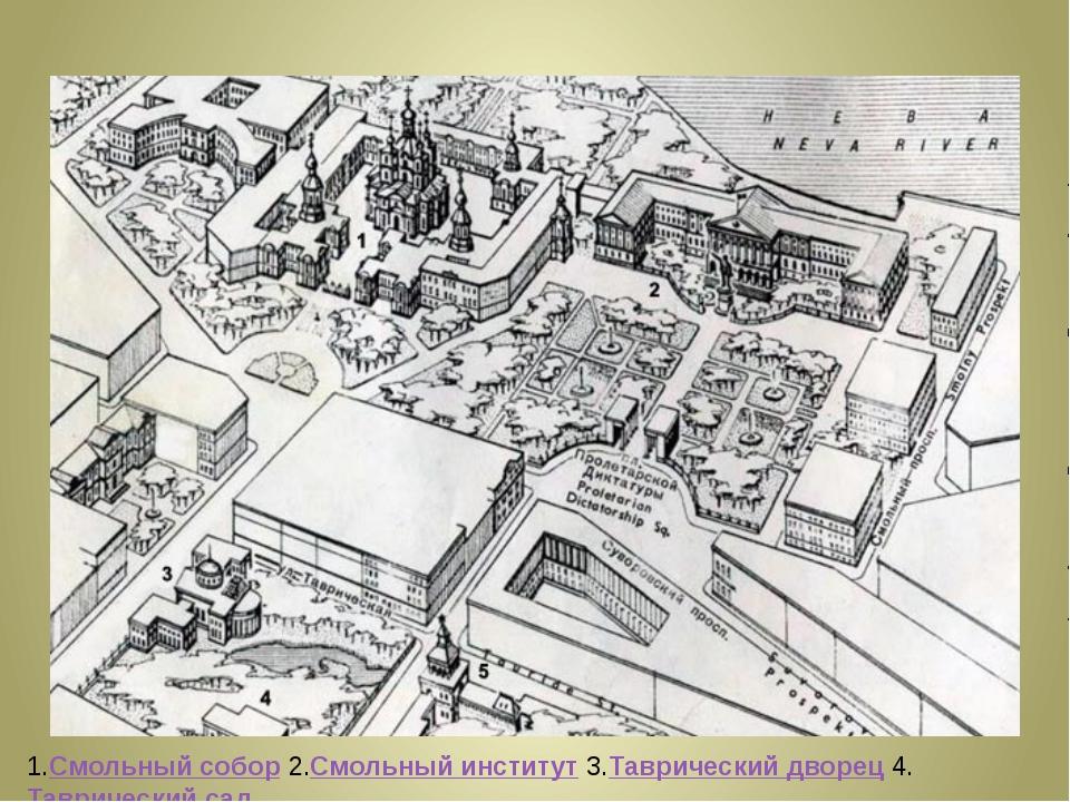 1.Смольный собор 2.Смольный институт 3.Таврический дворец 4.Таврический сад