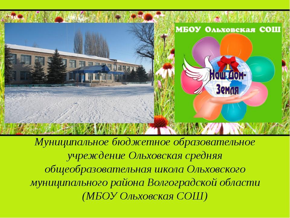 Муниципальное бюджетное образовательное учреждение Ольховская средняя общеоб...