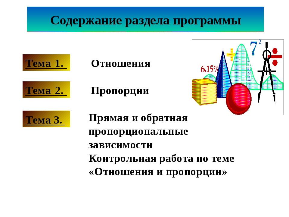 Тема 1. Тема 2. Тема 3. Прямая и обратная пропорциональные зависимости Контро...