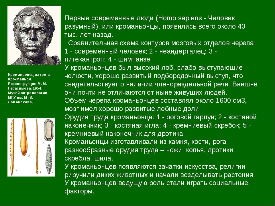 Первые современные люди (Homo sapiens - Человек разумный), или кроманьонцы, п...