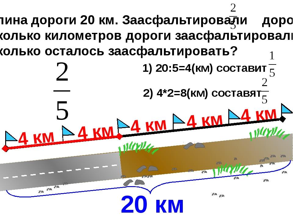 Длина дороги 20 км. Заасфальтировали дороги Сколько километров дороги заасфа...