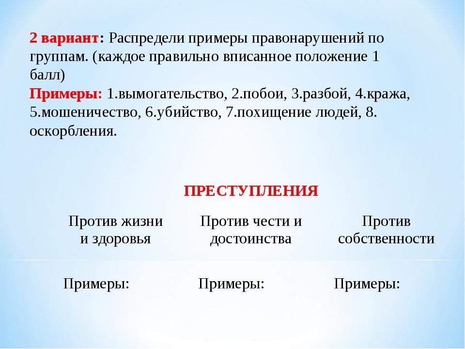 2 вариант: Распредели примеры правонарушений по группам. (каждое правильно вп...