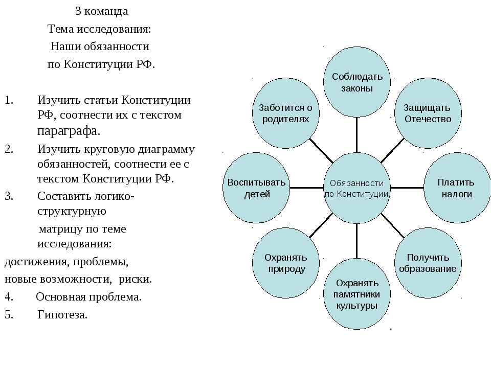 3 команда Тема исследования: Наши обязанности по Конституции РФ. Изучить стат...