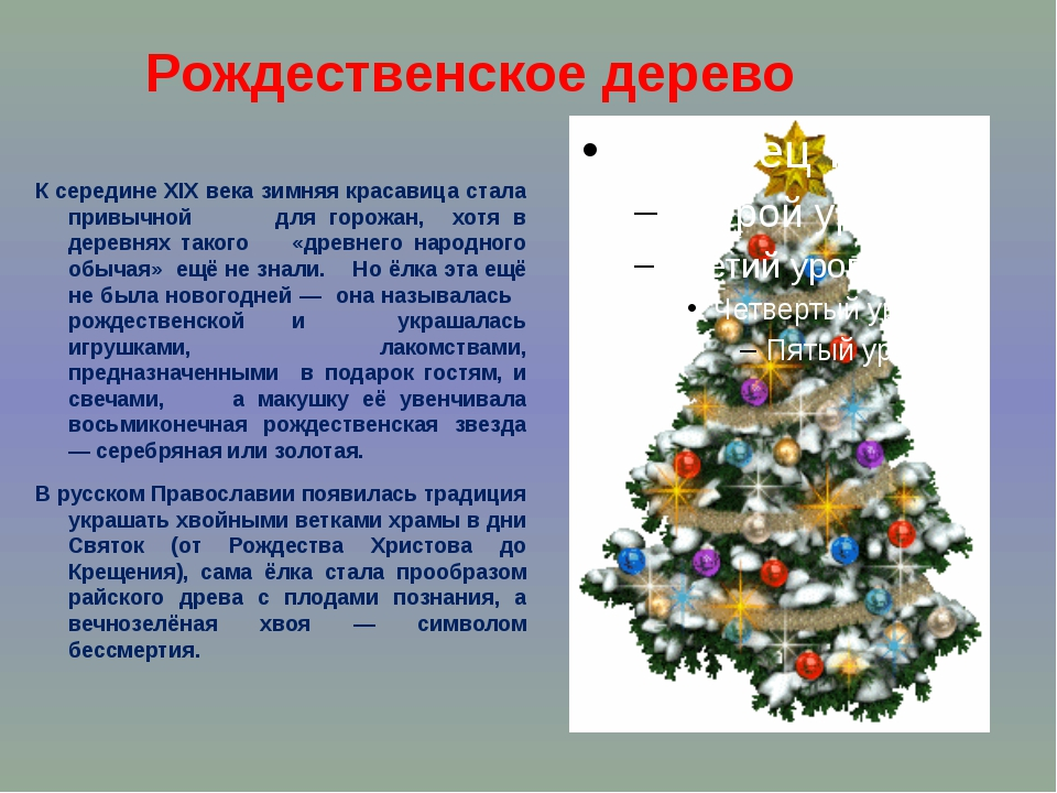 Рождественское дерево К середине XIX века зимняя красавица стала привычной дл...