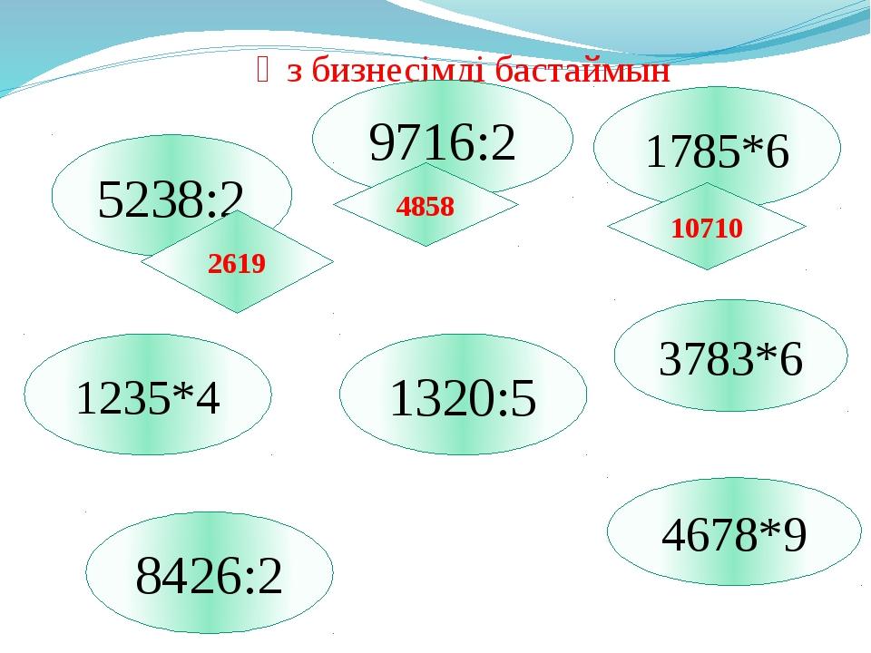 Өз бизнесімді бастаймын 8426:2 5238:2 4678*9 1320:5 3783*6 1235*4 1785*6 2619...
