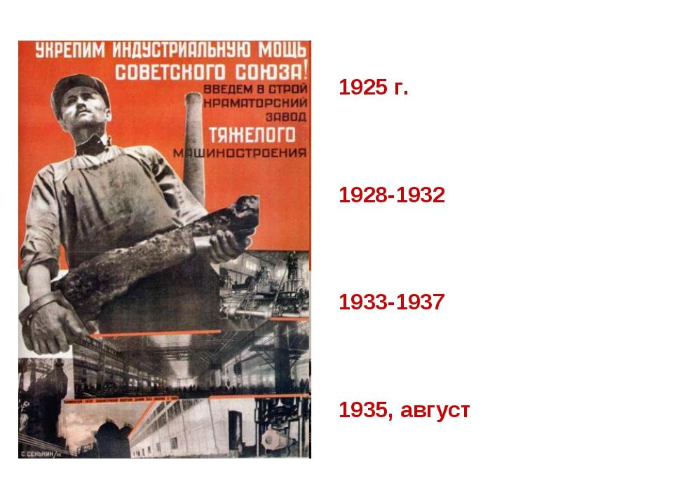 1925 г. – XIV партийная конференция и XV съезд партии 1928-1932 – первый пят...