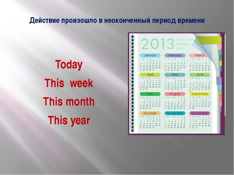Действие произошло в неоконченный период времени Today This week This month T...