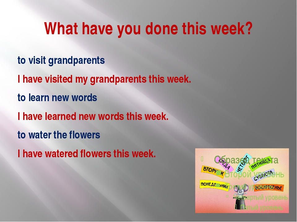 What have you done this week? to visit grandparents I have visited my grandpa...