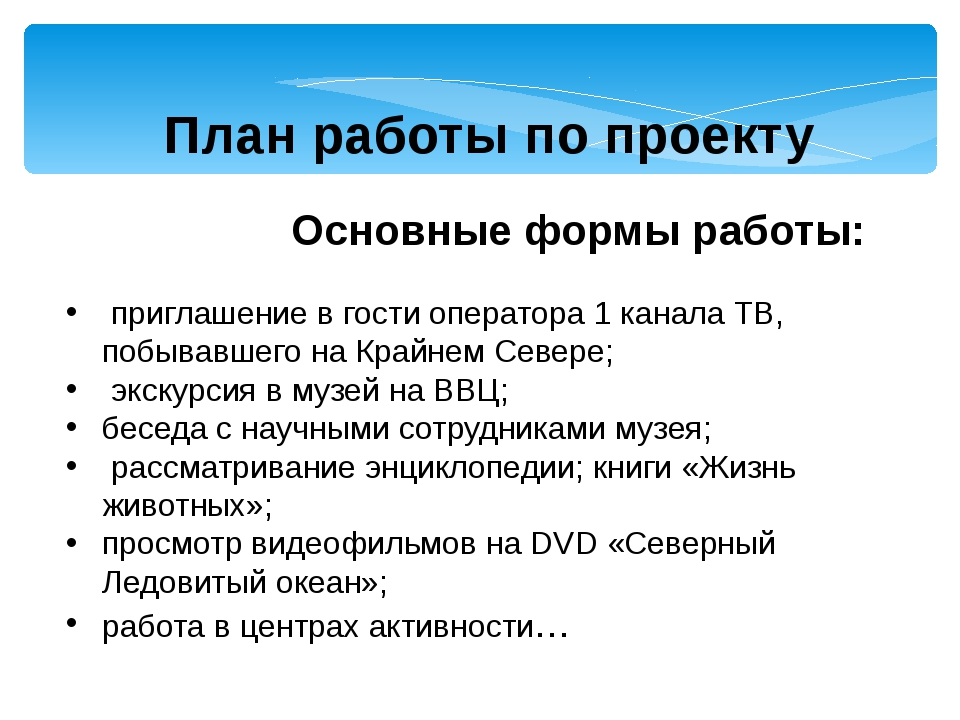 План работы по проекту Основные формы работы: приглашение в гости оператора...