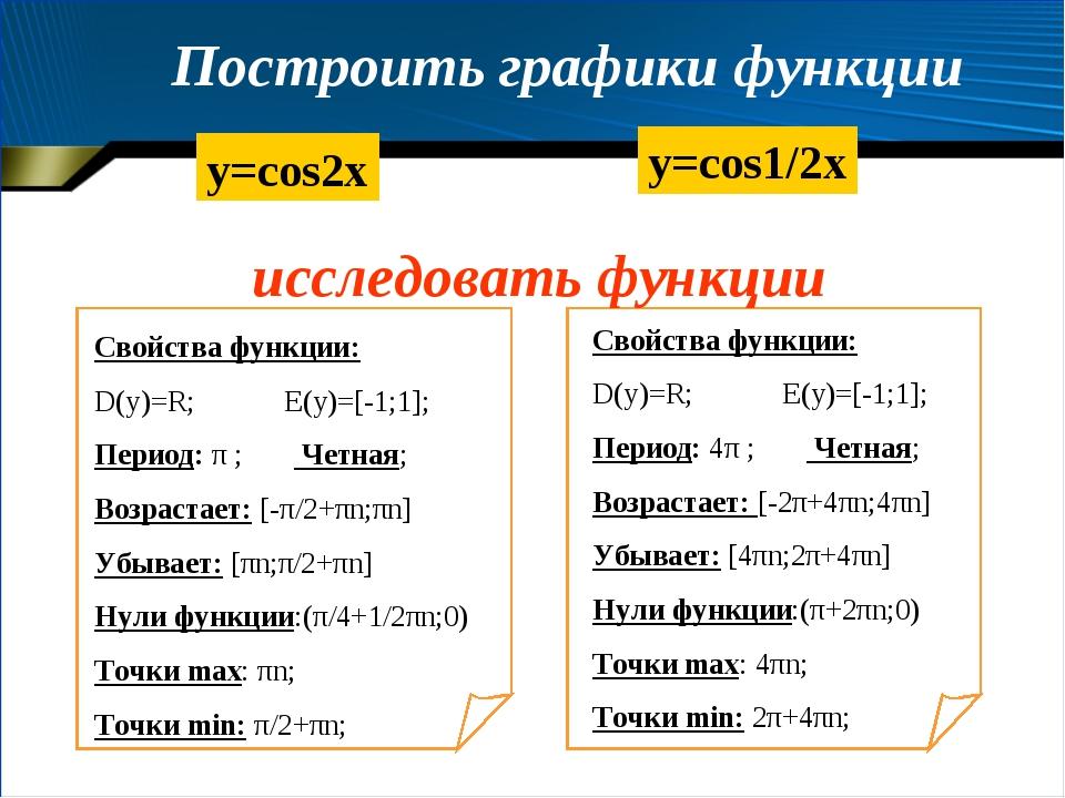Построить графики функции y=cos2x y=cos1/2x Свойства функции: D(y)=R; E(y)=[-...