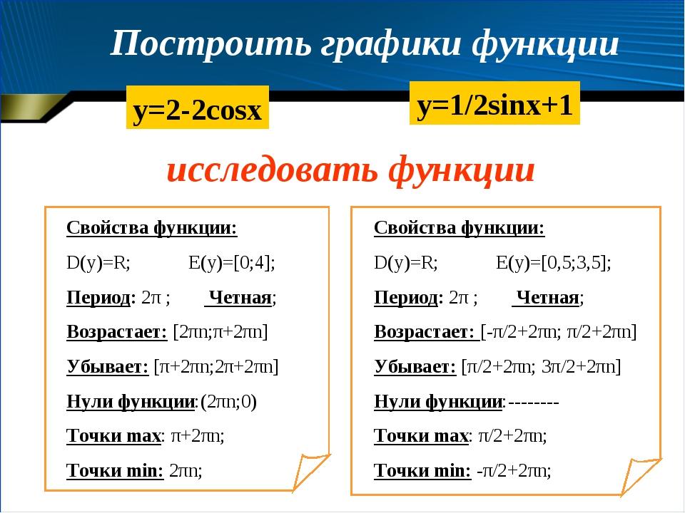 Построить графики функции y=2-2cosx y=1/2sinx+1 Свойства функции: D(y)=R; E(y...