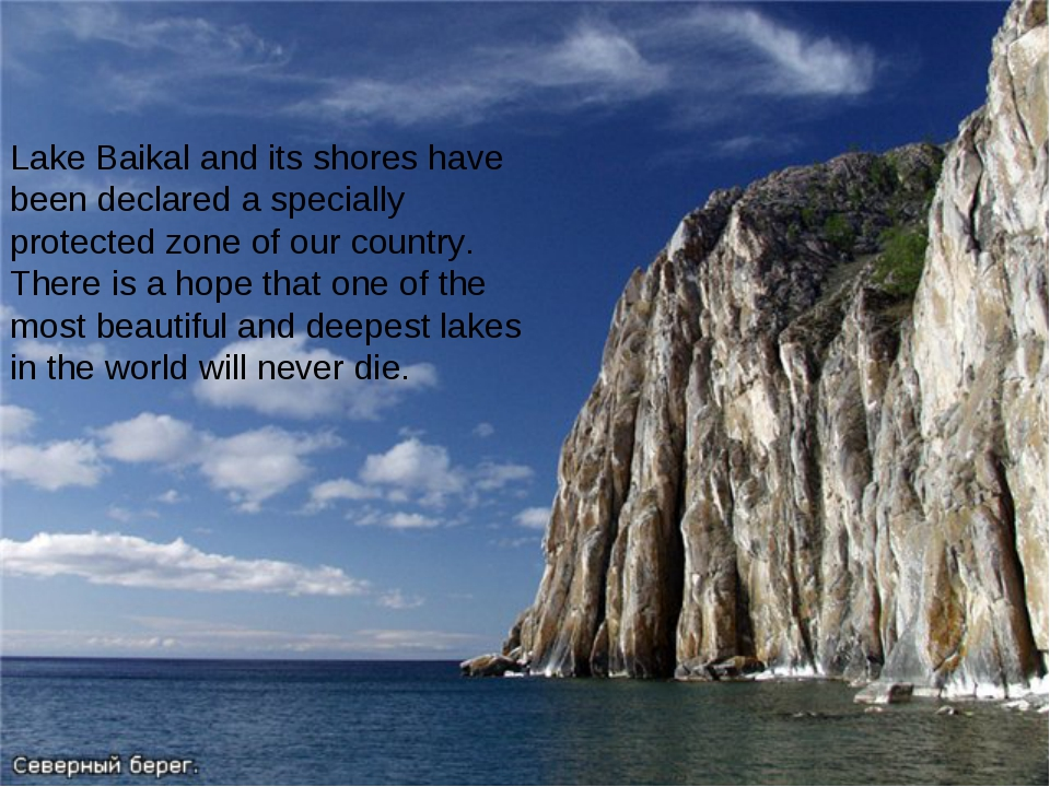 Lake Baikal and its shores have been declared a specially protected zone of o...
