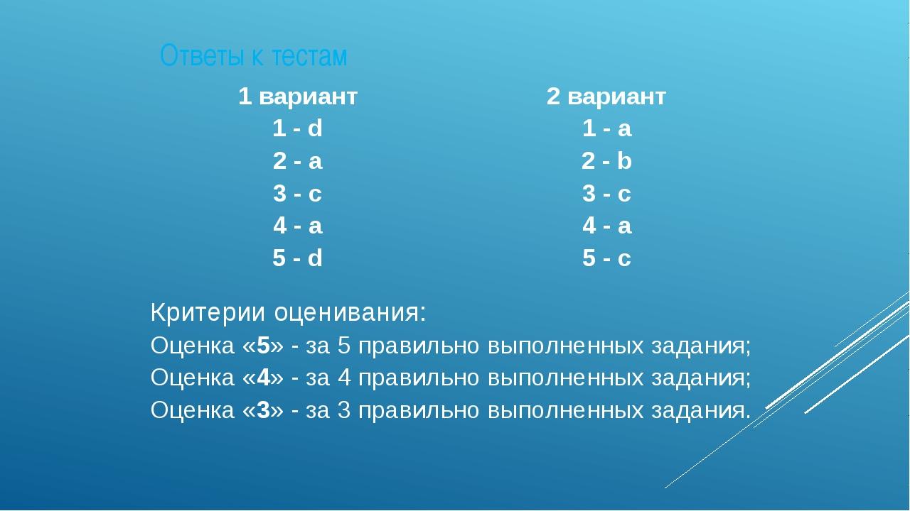 Ответы к тестам 1 вариант 1 -d 2-a 3-c 4-a 5-d 2 вариант 1-a 2-b 3- c 4-a 5-c...