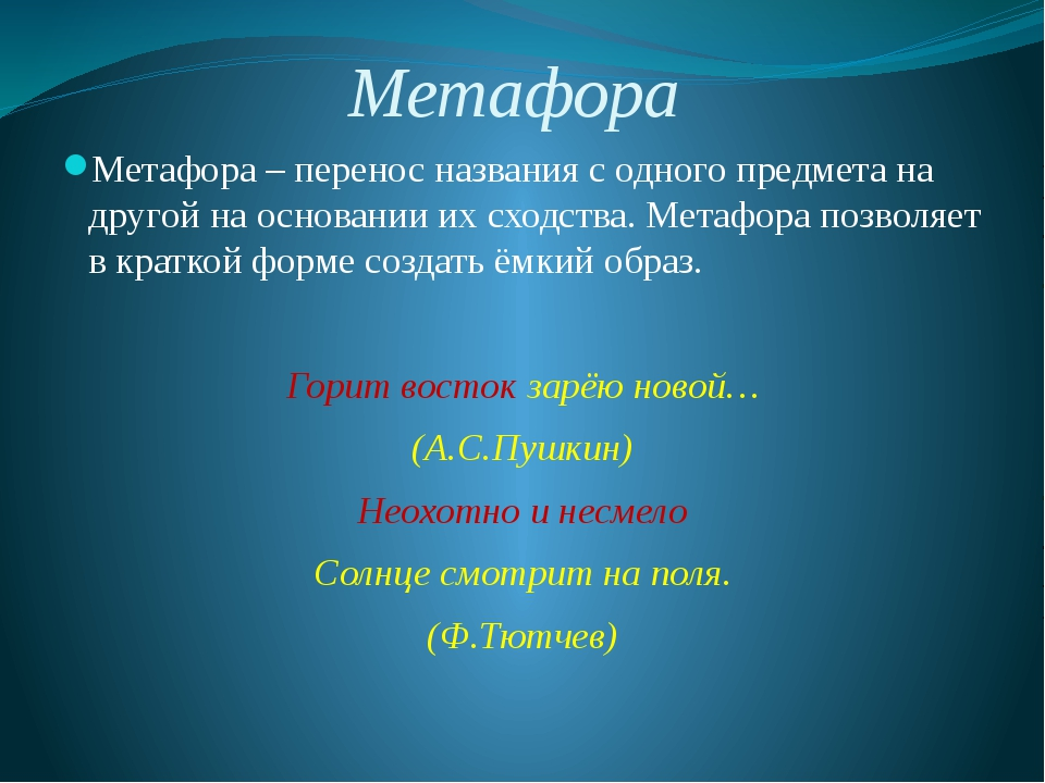 Метафора Метафора – перенос названия с одного предмета на другой на основании...