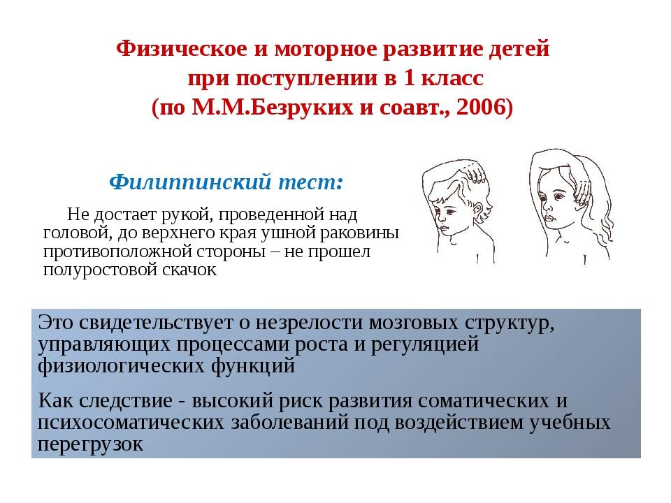 Физическое и моторное развитие детей при поступлении в 1 класс (по М.М.Безрук...
