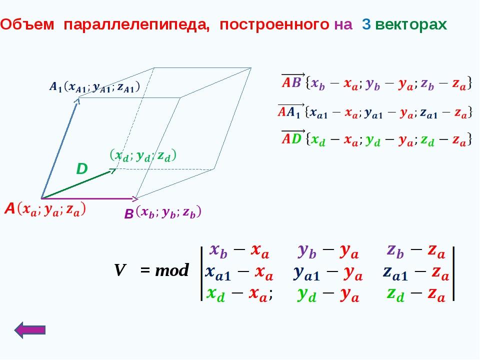 Объем параллелепипеда, построенного на 3 векторах D