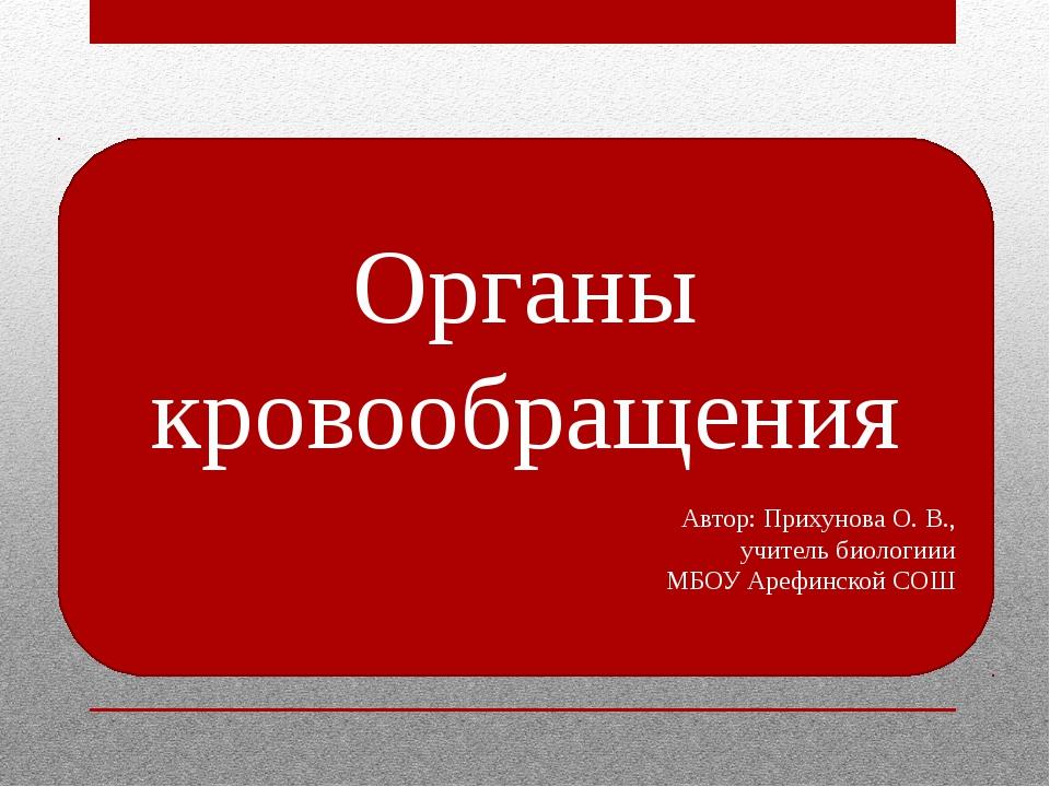 Органы кровообращения Автор: Прихунова О. В., учитель биологиии МБОУ Арефинск...