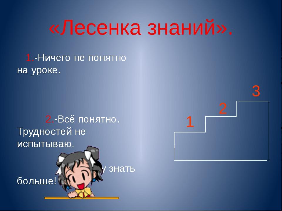 «Лесенка знаний». 1.-Ничего не понятно на уроке. 2.-Всё понятно. Трудностей н...