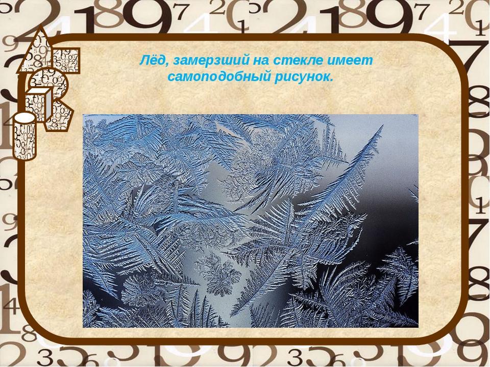 Лёд, замерзший на стекле имеет самоподобный рисунок.