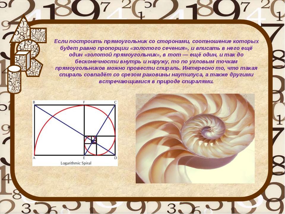 Если построить прямоугольник со сторонами, соотношение которых будет равно пр...