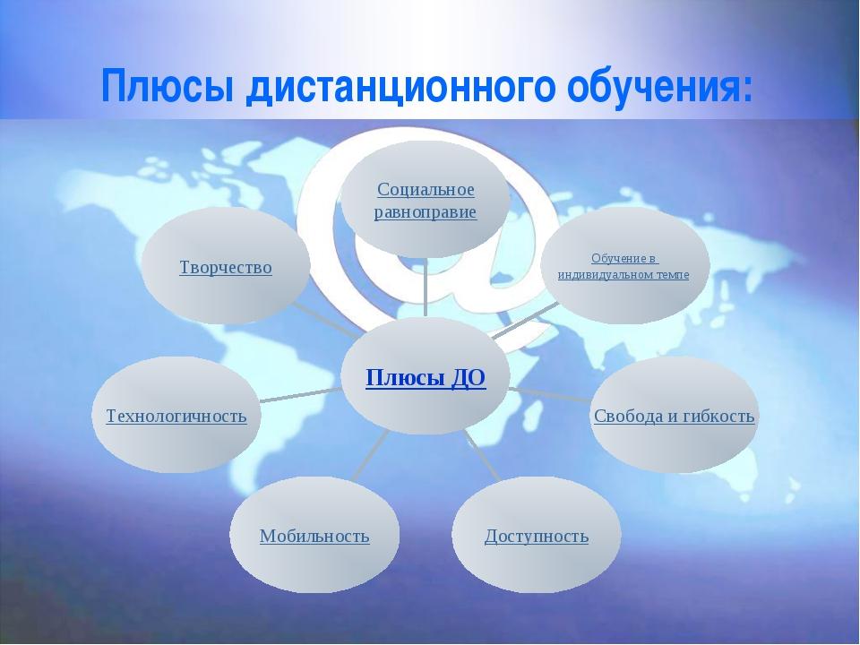 Плюсы дистанционного обучения: