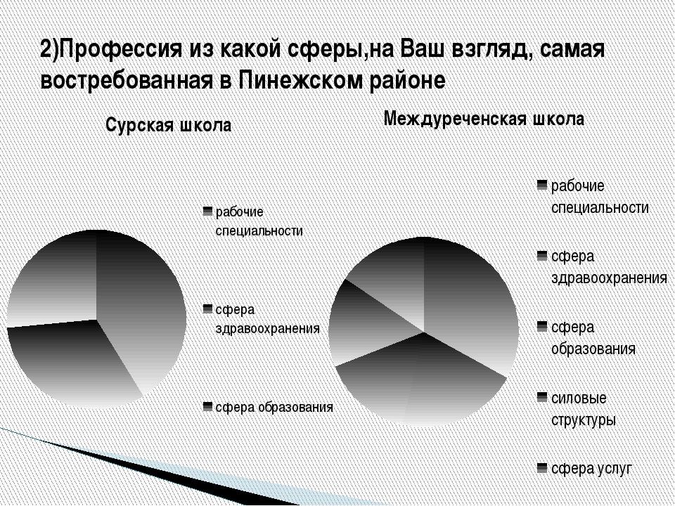 2)Профессия из какой сферы,на Ваш взгляд, самая востребованная в Пинежском ра...