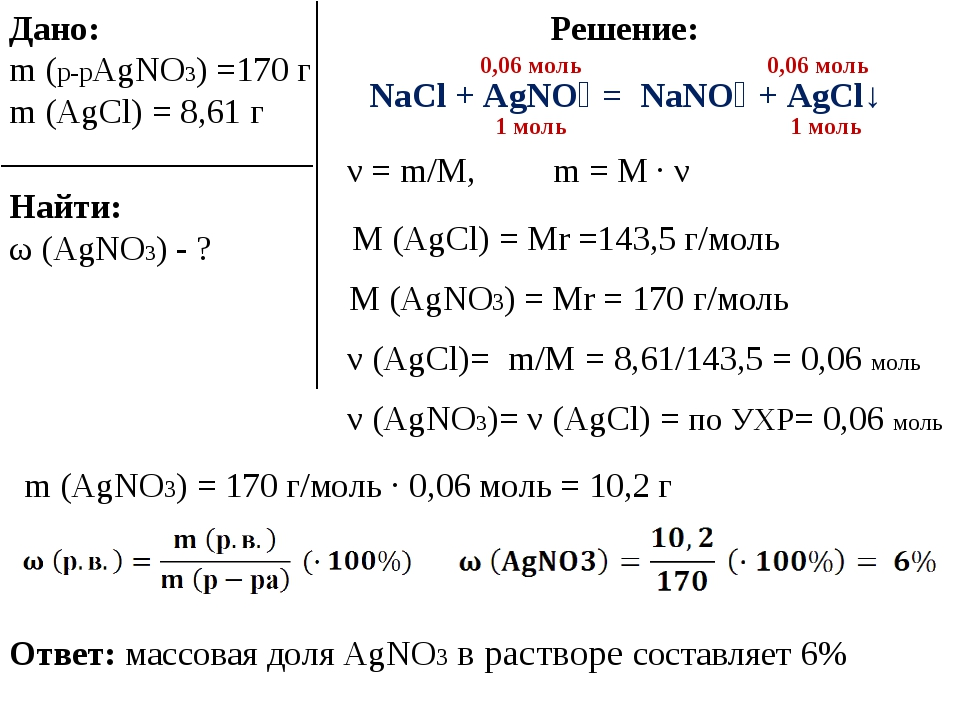Дано: m (p-pAgNO3) =170 г m (AgCl) = 8,61 г NaCl + AgNO₃ = NaNO₃ + AgCl↓ Найт...